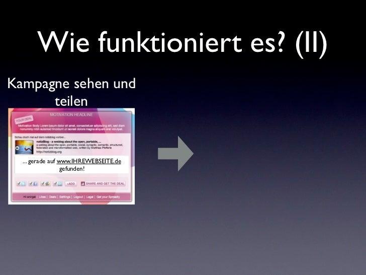 Wie funktioniert es? (II)Kampagne sehen und      teilen  ... gerade auf www.IHREWEBSEITE.de                  gefunden!