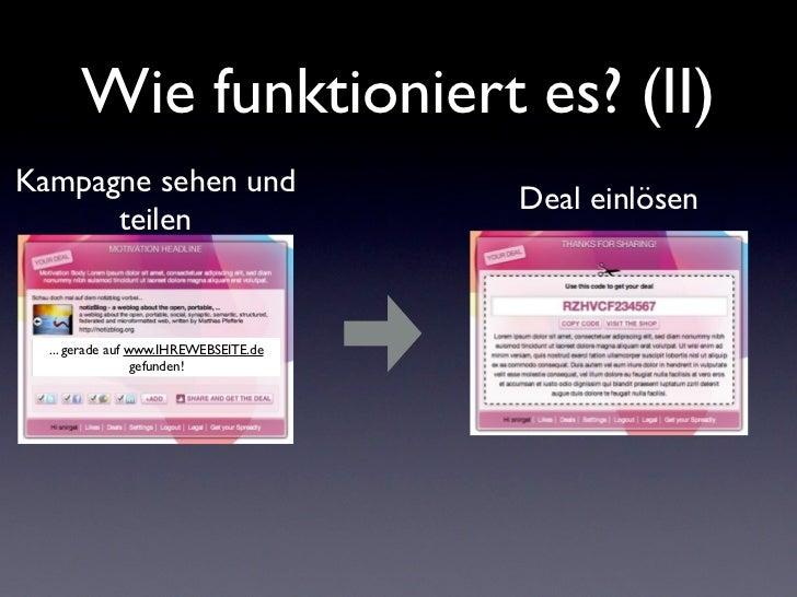 Wie funktioniert es? (II)Kampagne sehen und                                       Deal einlösen      teilen  ... gerade au...