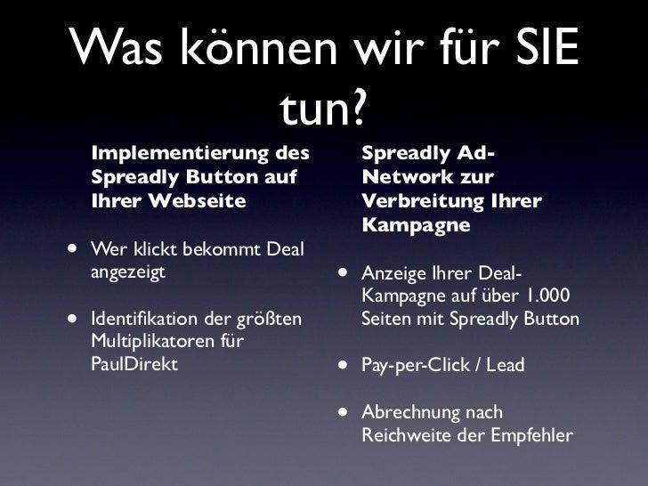 Was können wir für SIE        tun?    Implementierung des             Spreadly Ad-    Spreadly Button auf             Netw...