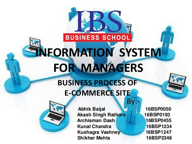 INFORMATION SYSTEM FOR MANAGERS BUSINESS PROCESS OF E-COMMERCE SITE By:- Abhik Baijal 16BSP0050 Akash Singh Rathore 16BSP0...