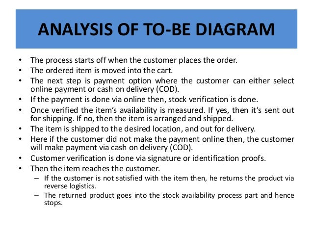ANALYSIS OF TO-BE DIAGRAM • The process starts off when the customer places the order. • The ordered item is moved into th...