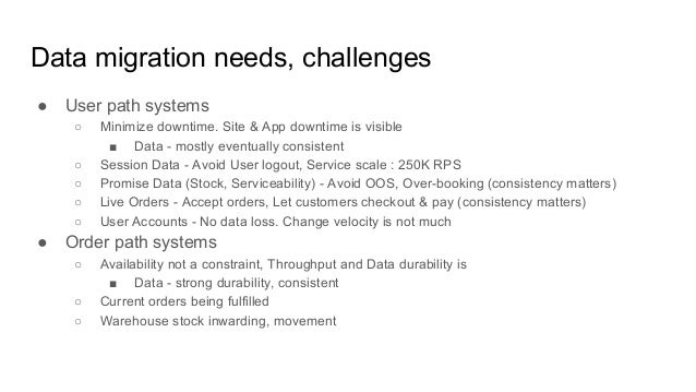 Data migration needs, challenges ● User path systems ○ Minimize downtime. Site & App downtime is visible ■ Data - mostly e...