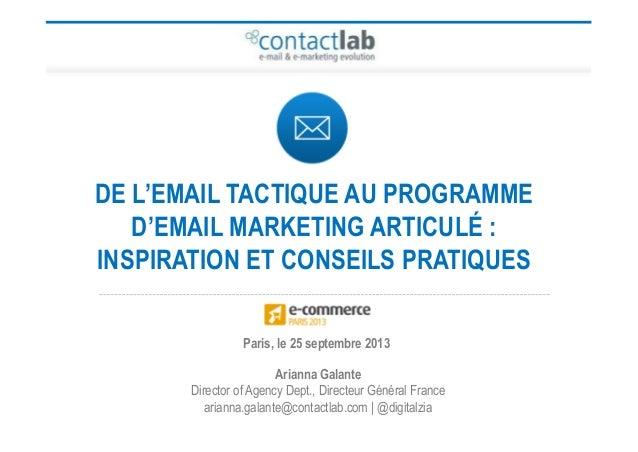 DE L'EMAIL TACTIQUE AU PROGRAMME D'EMAIL MARKETING ARTICULÉ : INSPIRATION ET CONSEILS PRATIQUES Arianna Galante Director o...