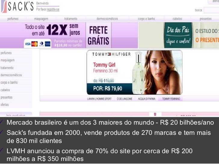 <ul><ul><ul><li>Mercado brasileiro é um dos 3 maiores do mundo - R$ 20 bilhões/ano </li></ul></ul></ul><ul><ul><ul><li>Sac...