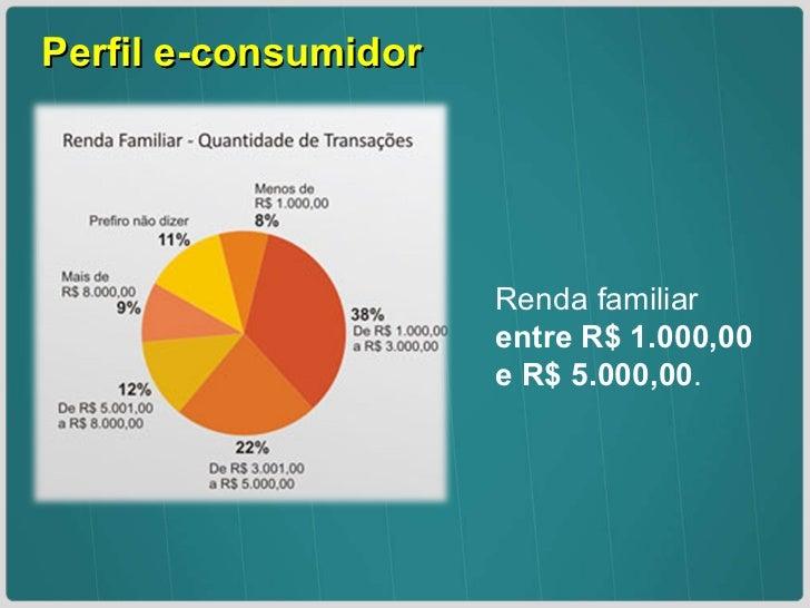Perfil e-consumidor  Renda familiar  entre R$ 1.000,00 e R$ 5.000,00 .
