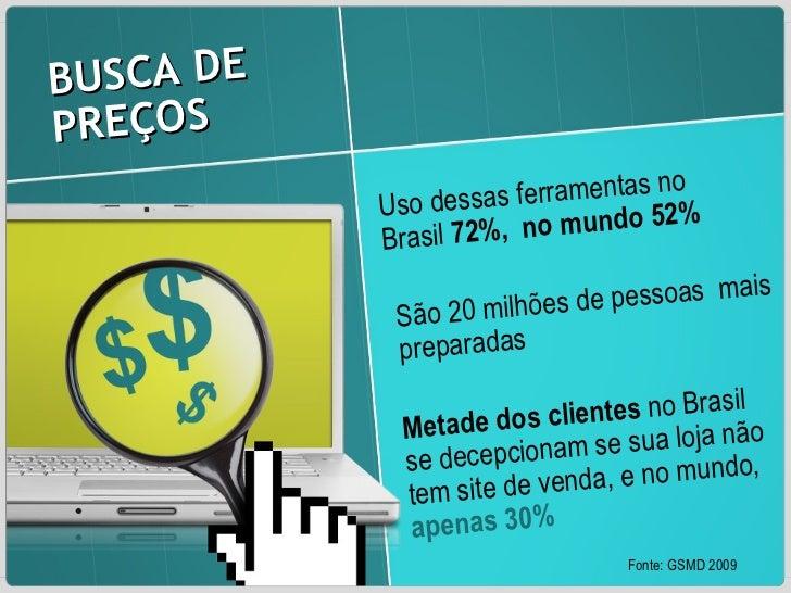 BUSCA DE PREÇOS  Uso dessas ferramentas no Brasil  72%,  no mundo 52% São 20 milhões de pessoas  mais preparadas Metade do...