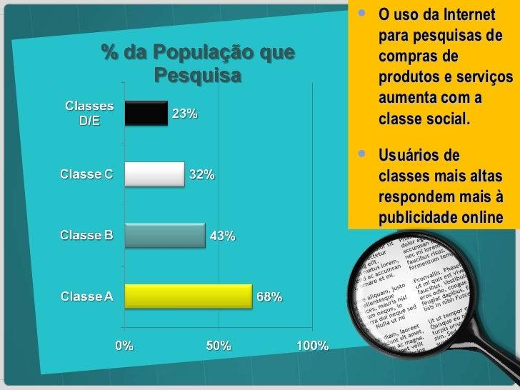 <ul><li>O uso da Internet para pesquisas de compras de produtos e serviços aumenta com a classe social. </li></ul><ul><li>...