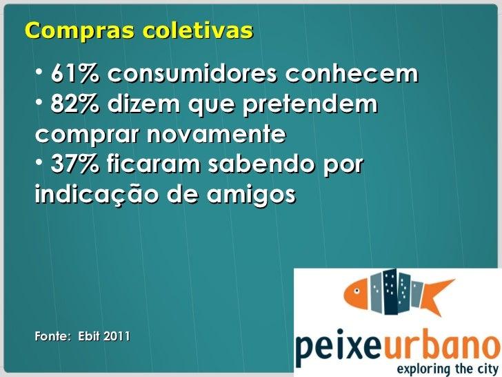 <ul><li>61% consumidores conhecem </li></ul><ul><li>82% dizem que pretendem comprar novamente </li></ul><ul><li>37% ficara...