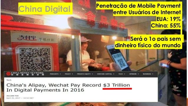 Penetração de Mobile Payment entre Usuários de Internet EUA: 19% China: 55% Será o 1o pais sem dinheiro físico do mundo Ch...