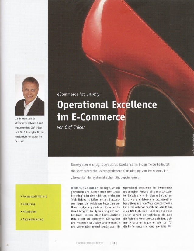 E commerce ist unsexy: operational excellence im ecommerce, ibusiness dossier shoptuning 03-2014