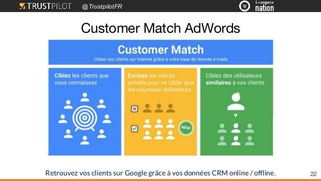 @TrustpilotFR 22 Customer Match AdWords Retrouvez vos clients sur Google grâce à vos données CRM online / offline.