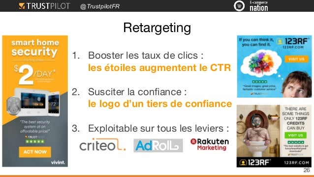 @TrustpilotFR Retargeting 26 1. Booster les taux de clics : les étoiles augmentent le CTR 2. Susciter la confiance : le lo...