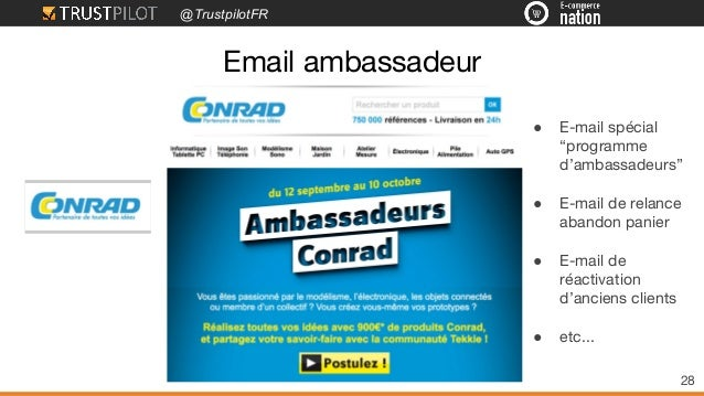 "@TrustpilotFR Email ambassadeur 28 ● E-mail spécial ""programme d'ambassadeurs"" ● E-mail de relance abandon panier ● E-mail..."