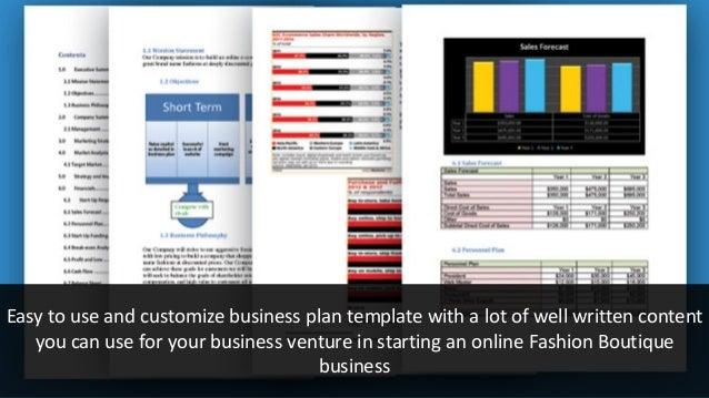 E-commerce online fashion boutique business plan template
