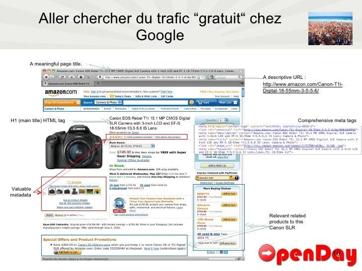 "Aller chercher du trafic ""gratuit"" chez Google A meaningful page title. Comprehensive meta tags H1 (main title) HTML tag A..."