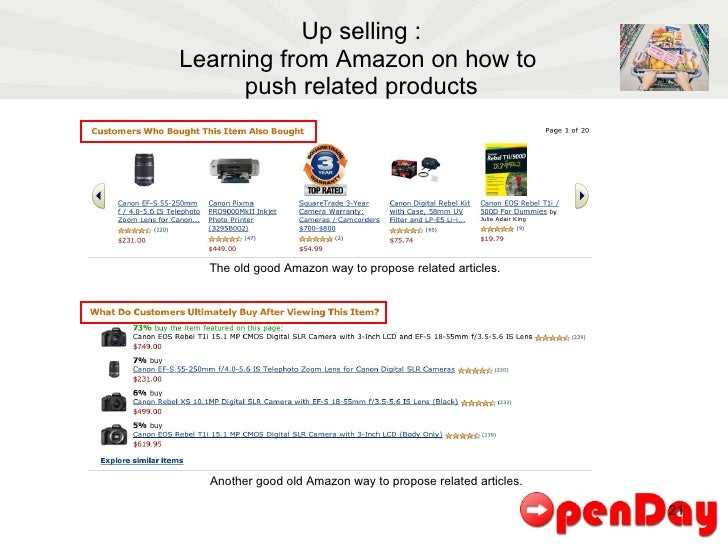 Up selling : Learning from Amazon on how to  push related products The old good Amazon way to propose related articles. An...