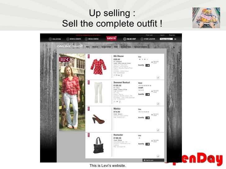 Up selling : Sell the complete outfit ! This is Levi's website.