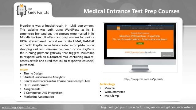 www.thegreyparrots.com Logic will get you from A to Z; imagination will get you everywhere Medical Entrance Test Prep Cour...