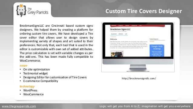 www.thegreyparrots.com Logic will get you from A to Z; imagination will get you everywhere Custom Tire Covers Designer htt...