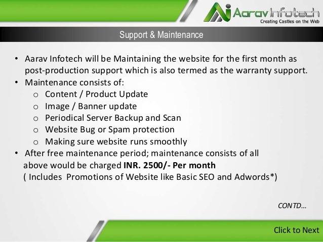 E commerce website designing proposal Form Aarav Infotech
