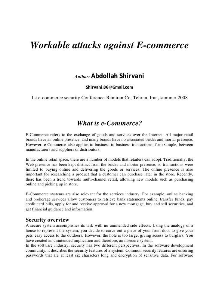 Workable attacks against E-commerce                               Author: Abdollah           Shirvani                     ...