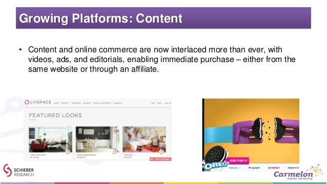 Growing Platforms: Content • Content and online commerce are now interlaced more than ever, with videos, ads, and editoria...