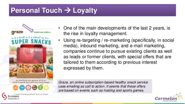 Personal Touch  Loyalty • One of the main developments of the last 2 years, is the rise in loyalty management. • Using re...