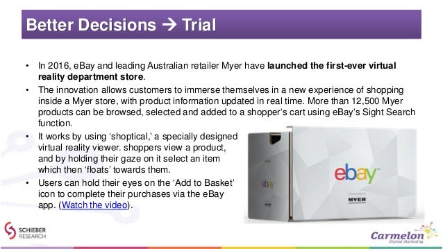 Better Decisions  Trial • In 2016, eBay and leading Australian retailer Myer have launched the first-ever virtual reality...