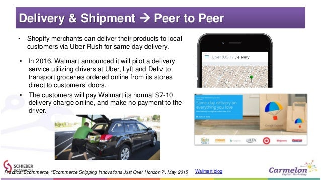 Delivery & Shipment  Peer to Peer • Shopify merchants can deliver their products to local customers via Uber Rush for sam...