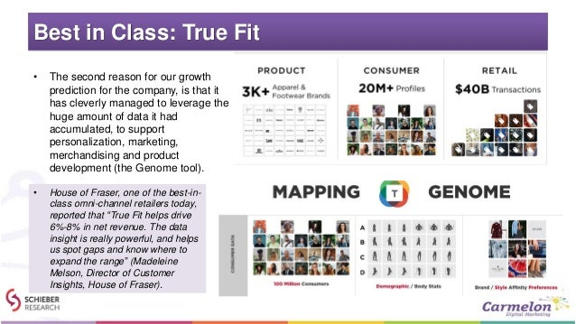 Best in Class: True Fit • The second reason for our growth prediction for the company, is that it has cleverly managed to ...