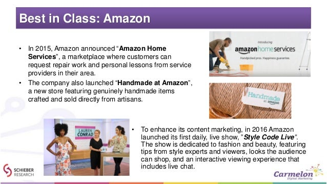 """Best in Class: Amazon • In 2015, Amazon announced """"Amazon Home Services"""", a marketplace where customers can request repair..."""