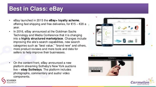 Best in Class: eBay • eBay launched in 2015 the eBay+ loyalty scheme, offering fast shipping and free deliveries, for €15 ...