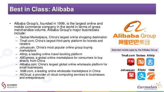 Best in Class: Alibaba • Alibaba Group's, founded in 1999, is the largest online and mobile commerce company in the world ...