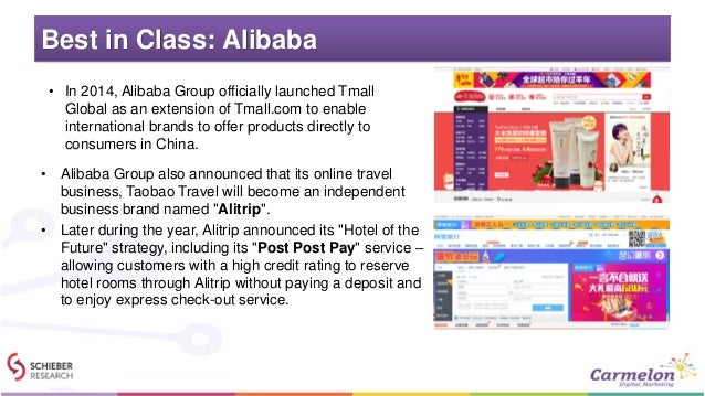Best in Class: Alibaba • Alibaba Group also announced that its online travel business, Taobao Travel will become an indepe...