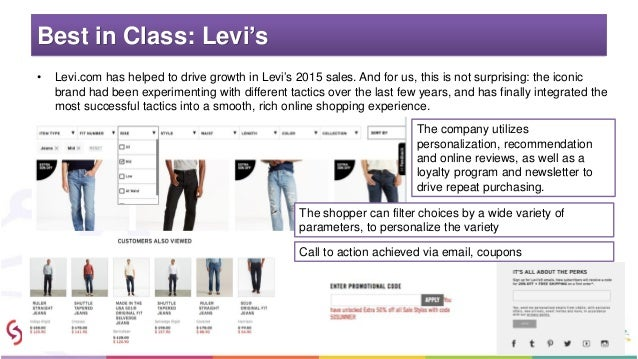Best in Class: Levi's • Levi.com has helped to drive growth in Levi's 2015 sales. And for us, this is not surprising: the ...
