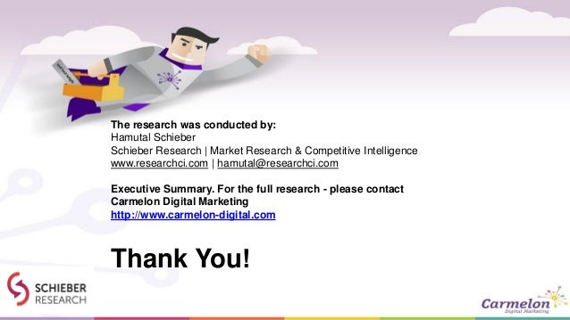 Thank You! The research was conducted by: Hamutal Schieber Schieber Research | Market Research & Competitive Intelligence ...