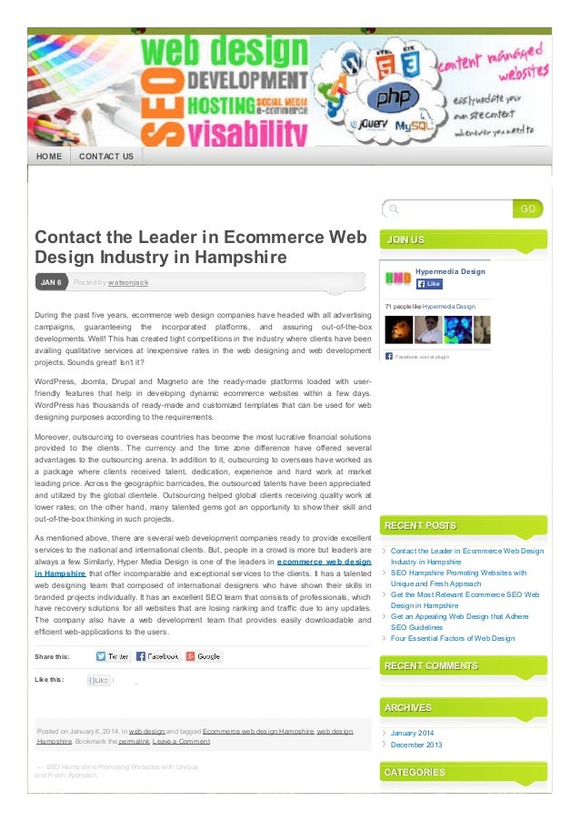 Contact The Leader In Ecommerce Web Design Industry In Hampshire