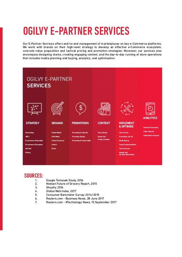 OGILVY E-PARTNER SERVICES Our E-Partner Services offers end-to-end management of marketplaces on key e-Commerce platforms....