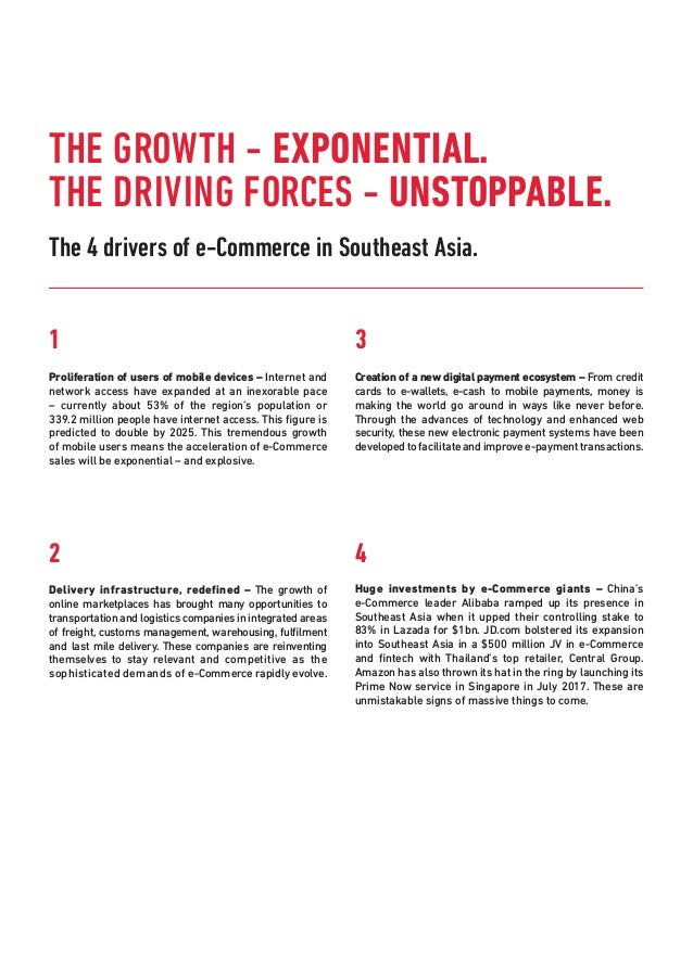 The 4 drivers of e-Commerce in Southeast Asia. 1 Proliferation of users of mobile devices – Internet and network access ha...