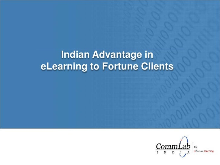 Indian Advantage in eLearning to Fortune Clients<br />