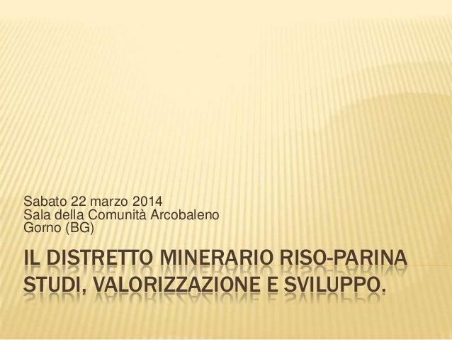 IL DISTRETTO MINERARIO RISO-PARINA STUDI, VALORIZZAZIONE E SVILUPPO. Sabato 22 marzo 2014 Sala della Comunità Arcobaleno G...