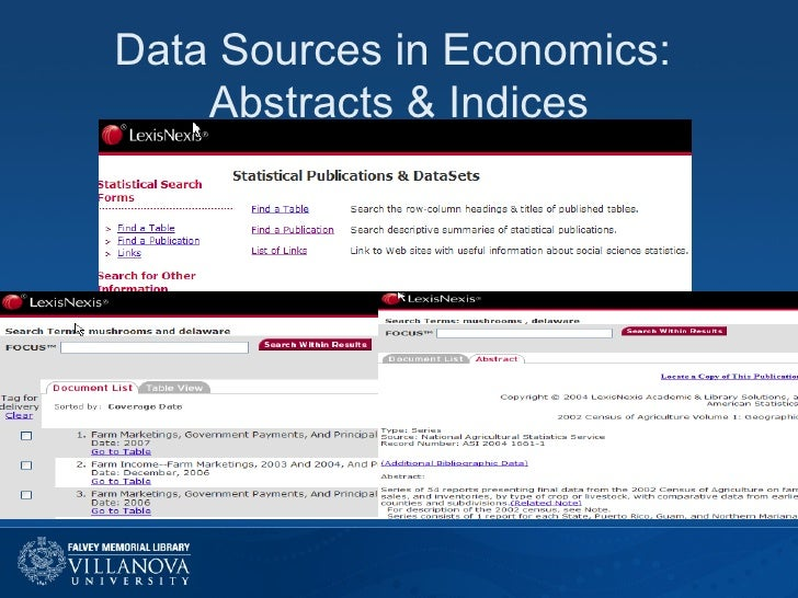 Data Sources in Economics:  Abstracts & Indices