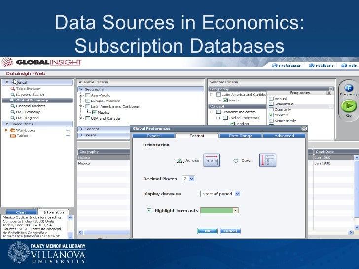 Data Sources in Economics: Subscription Databases