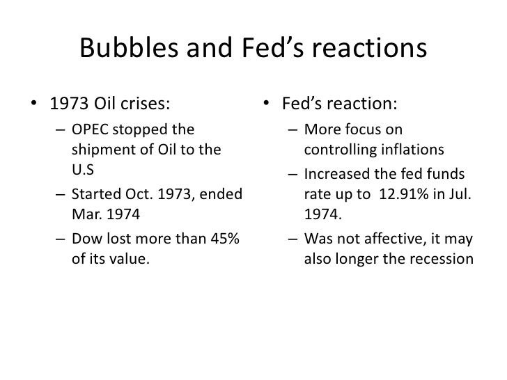 Bubbles and Fed's reactions<br />1973 Oil crises:<br />OPEC stopped the shipment of Oil to the U.S<br />Started Oct. 1973,...