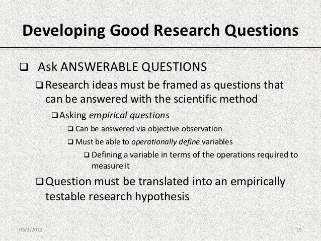 framing a research question Framing research questions as the integrated process model illustrates, research questions play a central role in all of the research efforts that follow.