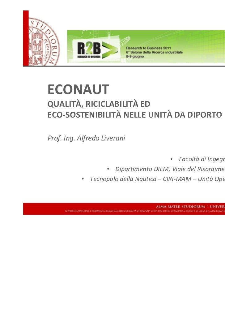 University of Bologna - Italy                                                      DIEM – Engineering FacultyECONAUTQUALIT...
