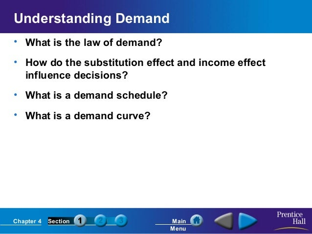 Chapter 4 Section Main Menu Understanding Demand • What is the law of demand? • How do the substitution effect and income ...