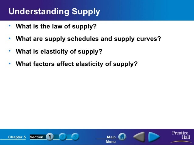 Chapter 5 Section Main Menu Understanding Supply • What is the law of supply? • What are supply schedules and supply curve...