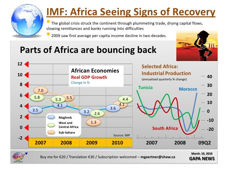 IMF: Africa Seeing Signs of Recovery                The global crisis struck the continent through plummeting trade, dryi...
