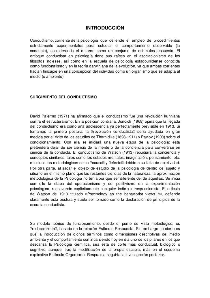 INTRODUCCIÓN<br />Conductismo,corrientedelapsicología que defiende el empleo de procedimientos estrictamente experimen...